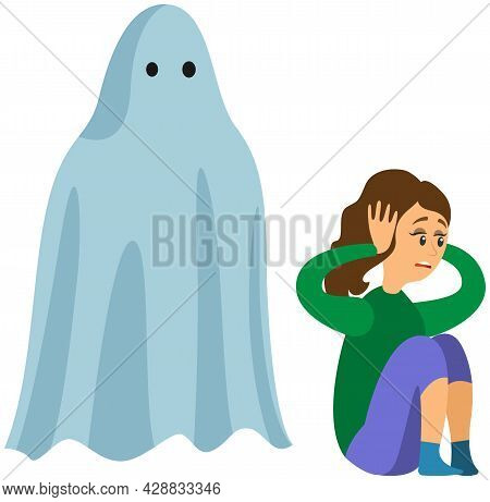 Woman Scared Of Spooky Monster. Young Lady Is Afraid Of Ghost. Girl Covers Ears From Fright Near Mon
