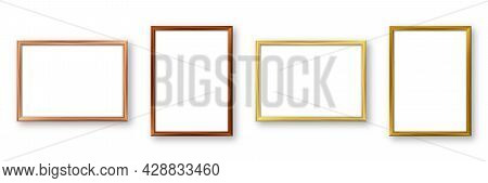 Realistic Wooden Picture Frames With Shadow Isolated On White Background. Blank Poster Mockup. Empty