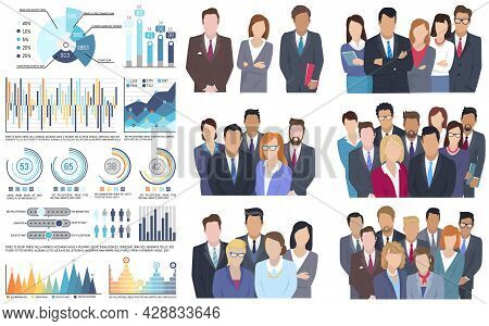 Project Team Man And Woman Business Characters Dressed Formally Isolated On White. Employee Group Of