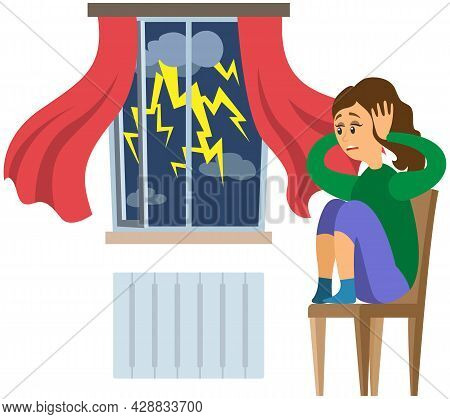Terrified Lady Shocked By Thunder And Lightning. Woman Frightened By Thunderstorm. Person Suffers Fr