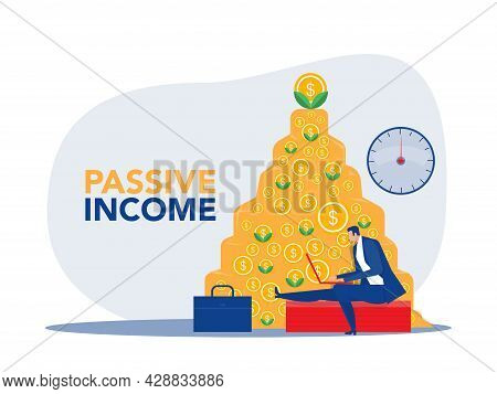 Passive Income,businessman Make Money In Front Of A Notebook As Money Background.vector Illustration