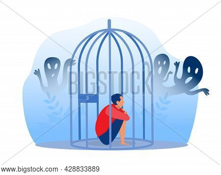 Depressed Boy In Prison With Anxiety And Scary Fantasies Feeling Sorrow; Fears; Sadness Vector Illus