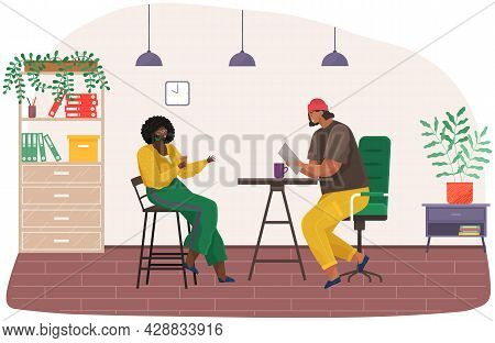 Colleagues Are Communicating, Sitting And Talking. People Are Discussing Working Questions. Employee