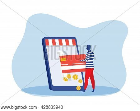 Thief Man Stealing Money From Credit Card On Laptop Phone. Financial Criminal, Illegal Occupation Ve