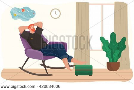 Man Lying On Sofa In Apartment. Happy Young Guy Relaxing, Dreaming. Rest On Couch And Think About So