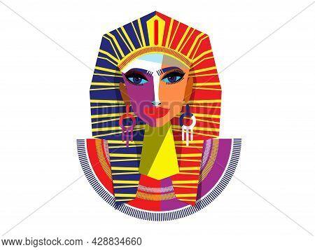 Egyptian Woman Pharaoh.. Vector Outline Illustration. Poster Design, Postcard, Colorful.