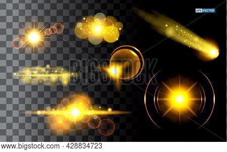 Set Of Realistic Golden Sparkling Light Or Spark Shining Star Sun Particles Or Light With Lens Flare