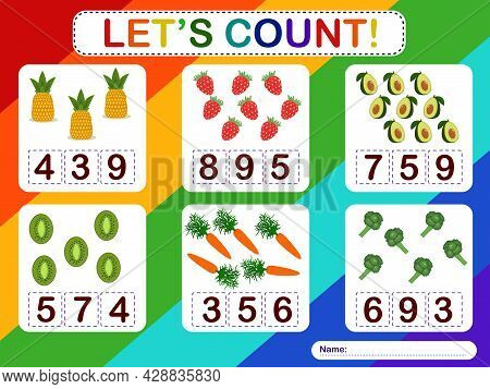 Educational Counting Math Game For Preschool Children On The Theme Of Fruits. Count The Number Of Fr