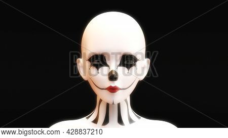 Artistic 3D Illustration Of A Female Face