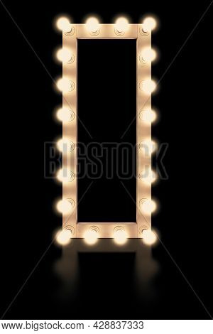 Mirror Light Bulb. Professional White Mirror With Light Bulbs, Isolated On A Black Background. Illum