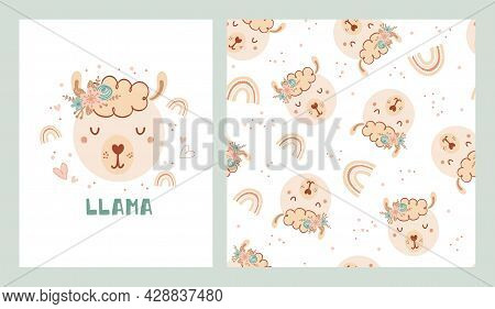 Set A Cute Poster And Seamless Pattern With Lama, Rainbow And Poster With The Lettering Llama. Colle