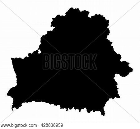 Belarus Dark Silhouette Map Isolated On White Background