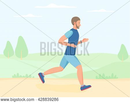 Men Running Outdoor In Summer, Jogging In Park. Doing Exercise And Cardio Workout Outside. Flat Vect