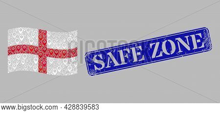 Mosaic Pointer Waving England Flag Designed With Cursor Icons, With Textured Blue Rectangular Safe Z