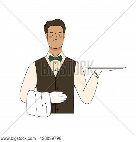 Waiter Holding Empty Serving Tray For Food. Vector Flat Cartoon Illustration