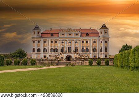 Milotice, Czech Republic, June 05 2021 Beautiful State Baroque Chateau Milotice In The Czech Republi