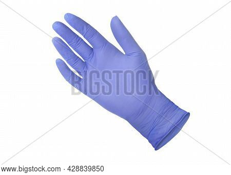 Medical Nitrile Gloves. Blue Surgical Glove Isolated On White Background With Hands. Rubber Glove Ma