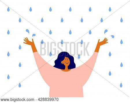 Happy Woman With Raised Arms Stands Enjoying Rain. Optimist Female Character. Cute Girl Catches Wate