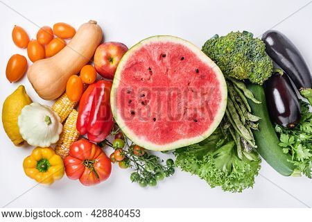 Assortment Of Fresh Fruits And Organic Multicolored Rainbow Vegetables On White Background Food Cook