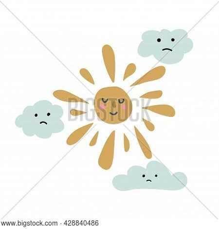 Hand Drawn  Sun And Clouds For Babies. Cute Design Element For Children's Room. Printable Poster For