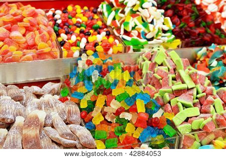 Colorful Candies On Market Stand