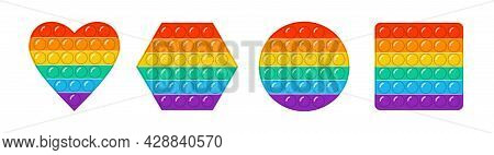 Set Of Trendy Pop It Fidgets. Heart Shaped Colorful Antistress Toys, Square Shape, Circle Figure. Ha