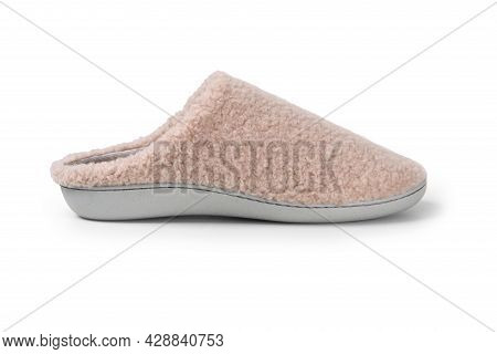 Pair Of Blank Soft Gray Home Slippers, Design Mockup. Hotel Bath Slippers Top View Isolated On White