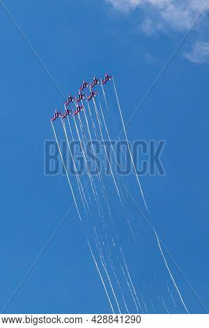 July 25, 2021, Russia, Kubinka. The Famous Flight Group Swifts Fighters Su-35 Kubinka Diamond And Ae