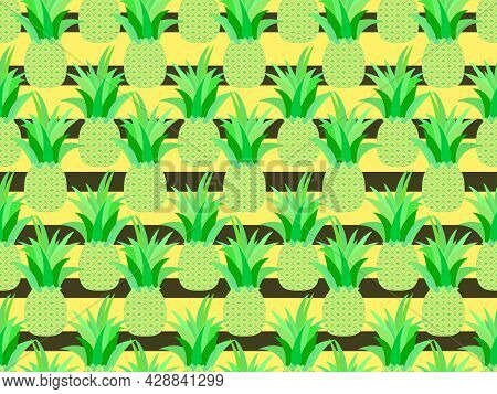 Pineapple Seamless Pattern. Summer Fruit Pattern. Pineapple Fruit. Tropical Background For T-shirts,