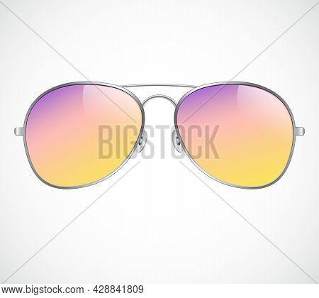 Aviator Sunglasses Illustration Background. Sunset. Police Isolated Sunglasses.