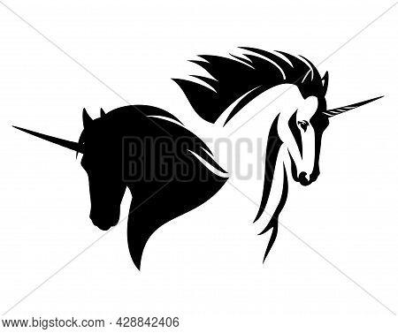 Fairy Tale Unicorn Horse Profile Head Design - Black And White Vector Outline And Silhouette Of Anim