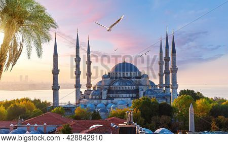 Sultanahmet Or The Blue Mosque At Sunset, Istanbul View, Turkey