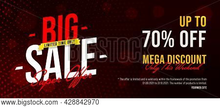 Sale Banner Up To 70 Percent Mega Discount Only This Weekend. Social Media Poster Or Website Header