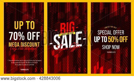 Big Sale, Mega Discount And Special Offer Flyer For Social Media. Online Shopping Promotion Campaign