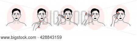 Vector Icons Set Of Facial Massage By Face Roller. Woman Showing How To Apply Quartz Massager. Skin