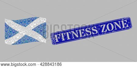 Mosaic Guide Waving Scotland Flag Constructed Of Map Elements, With Rubber Blue Rectangular Fitness