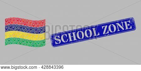 Mosaic Guide Waving Mauritius Flag Created With Geo Elements, With Grunge Blue Rectangular School Zo