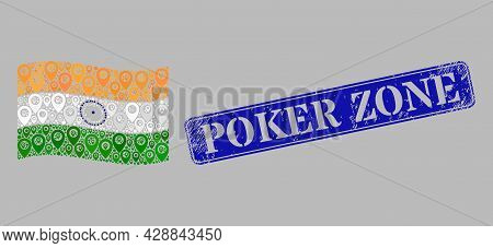 Mosaic Guide Waving India Flag Designed Of Cartography Icons, With Rubber Blue Rectangle Poker Zone