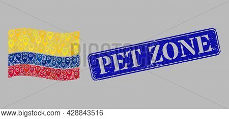 Mosaic Navigation Waving Colombia Flag Designed Of Location Icons, With Grunge Blue Rectangular Pet