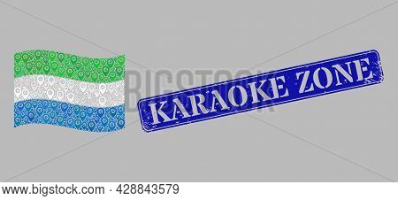 Mosaic Pointer Waving Sierra Leone Flag Designed With Position Elements, With Rubber Blue Rectangula