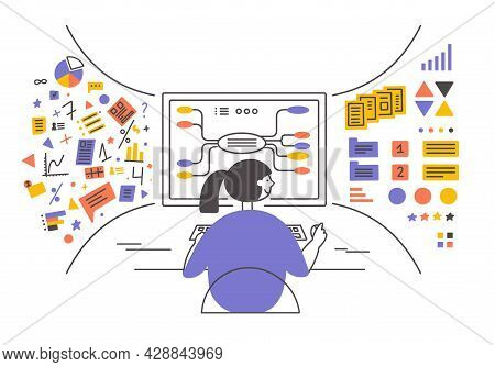 Data Analysis, Database Visualization. Young Woman Sitting In Front Of Big Computer Monitor Sorting