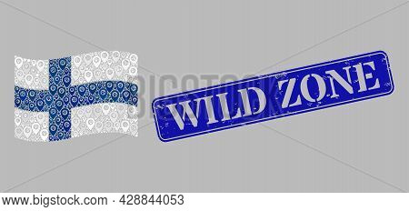Mosaic Pointer Waving Finland Flag Constructed Of Base Items, With Grunge Blue Rectangle Wild Zone B