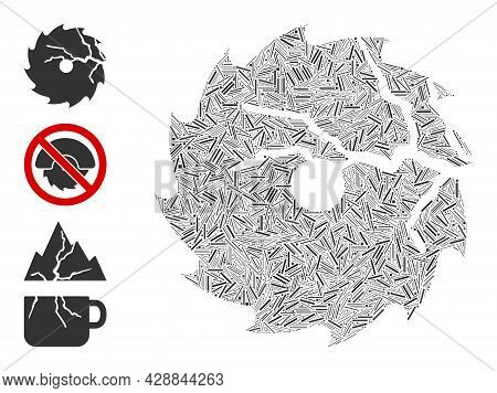 Line Collage Damaged Circular Saw Icon United From Narrow Items In Various Sizes And Color Hues. Lin