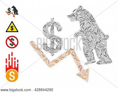 Line Collage Bear Dollar Trend Icon United From Thin Elements In Different Sizes And Color Hues. Lin