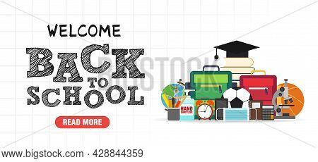 Back To School Concept Design Flat Banner. Welcome Back To School. School Icon. Vector Illustration