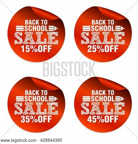 Back To School Red Sale Stickers Set With Pencil Icon. Sale 15%, 25%, 35%, 45% Off. Vector Illustrat