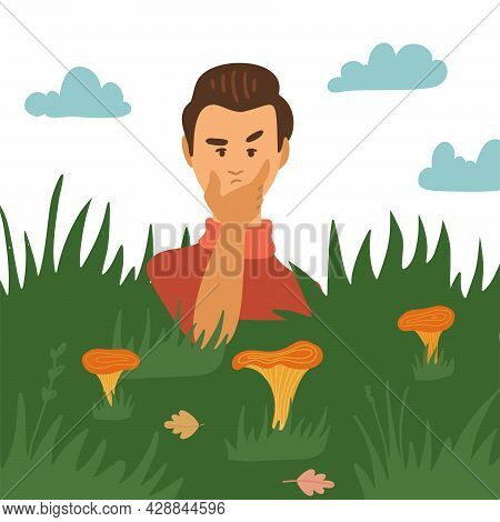 Doubting Man Looking At Mushrooms In Grass. Mushroomer Character Spend Time Outdoors At Autumn Seaso