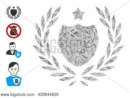 Linear Collage Official Insurance Shield Icon United From Straight Items In Different Sizes And Colo