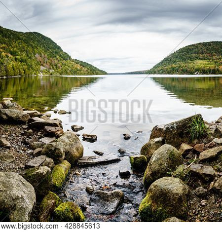 Scenic view of Long Pond in Acadia National Park, Maine