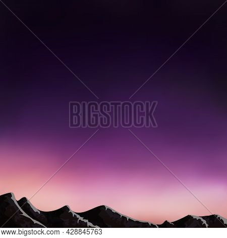 Vector Purple Sunset Over The Mountains. Abstract Blurred Background, Mountain Landscape, Twilight S